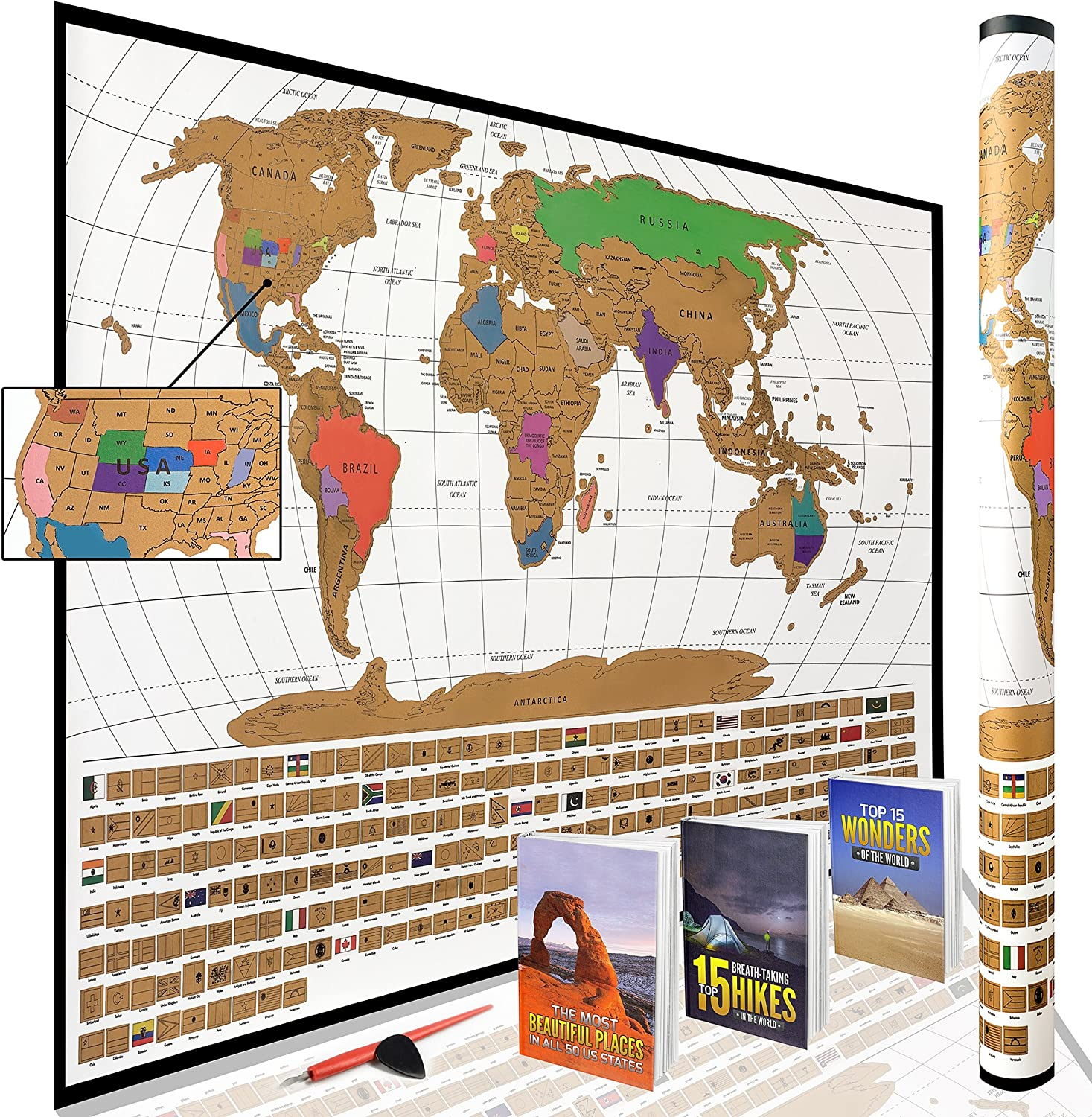 World Map For Sale Amazon.: Scratch Off World Map Poster with All US States
