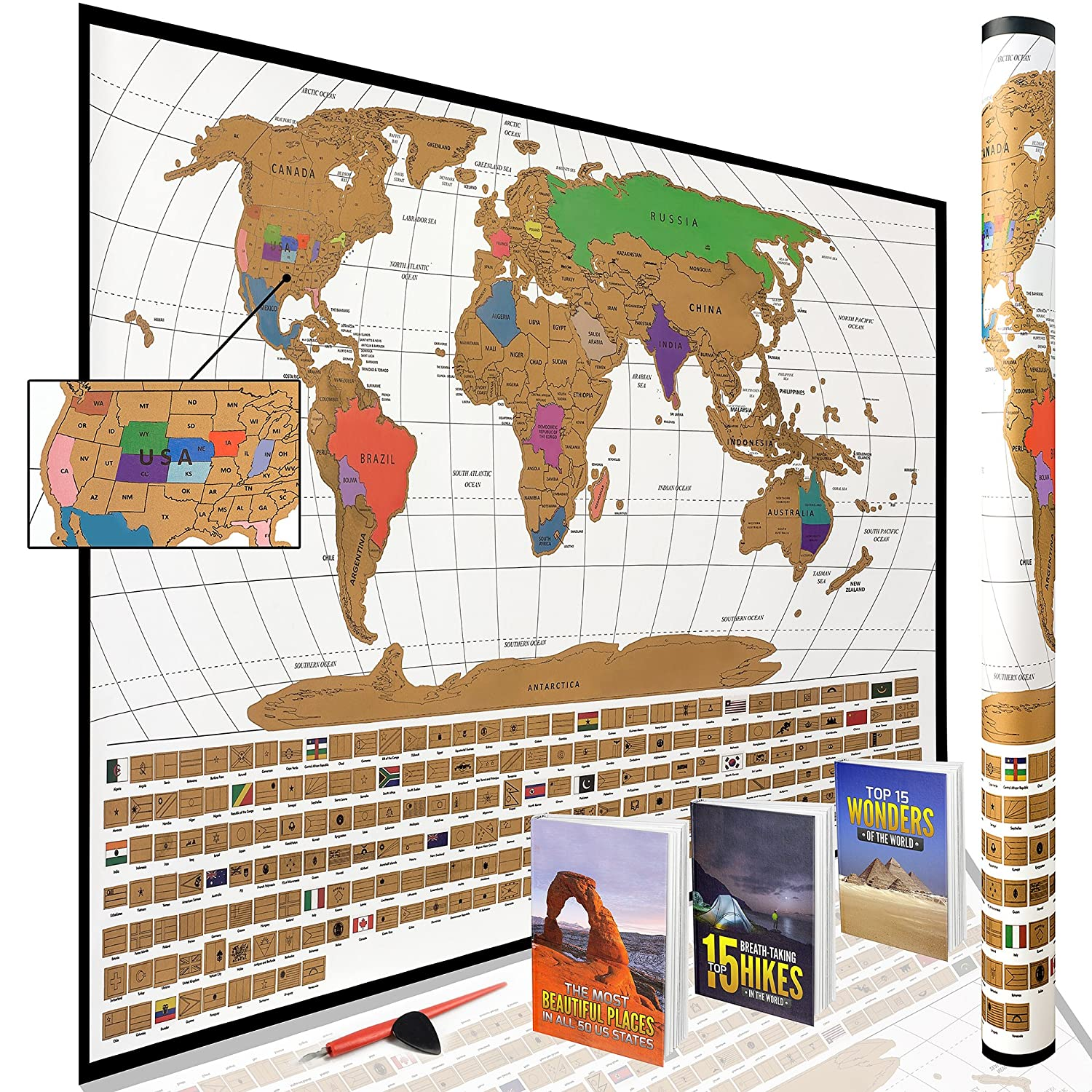 Scratch Off World Map Poster with All US States Outlined || Huge Prime Week  Sale & Bundle!! || Large + Detailed Cartography - Turn Your Adventures ...