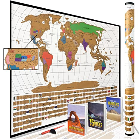 Scratch Off World Map With Us States.Amazon Com Scratch Off World Map Poster With All Us States