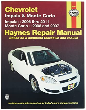 amazon com chevrolet impala 2006 2011 and monte carlo 2006 2007 rh amazon com 2008 impala owners manual pdf 2008 impala owners manual free