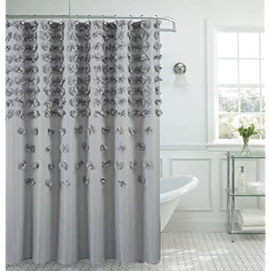 B&H Home Luxurious Bow Shower Curtain 70  x 72 Inch Made with 100% Polyester. (Gray)