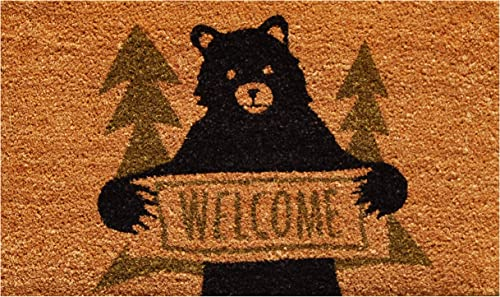 Calloway Mills 122261729 Bear Greeting Doormat, 17 x 29 , Natural Green Black