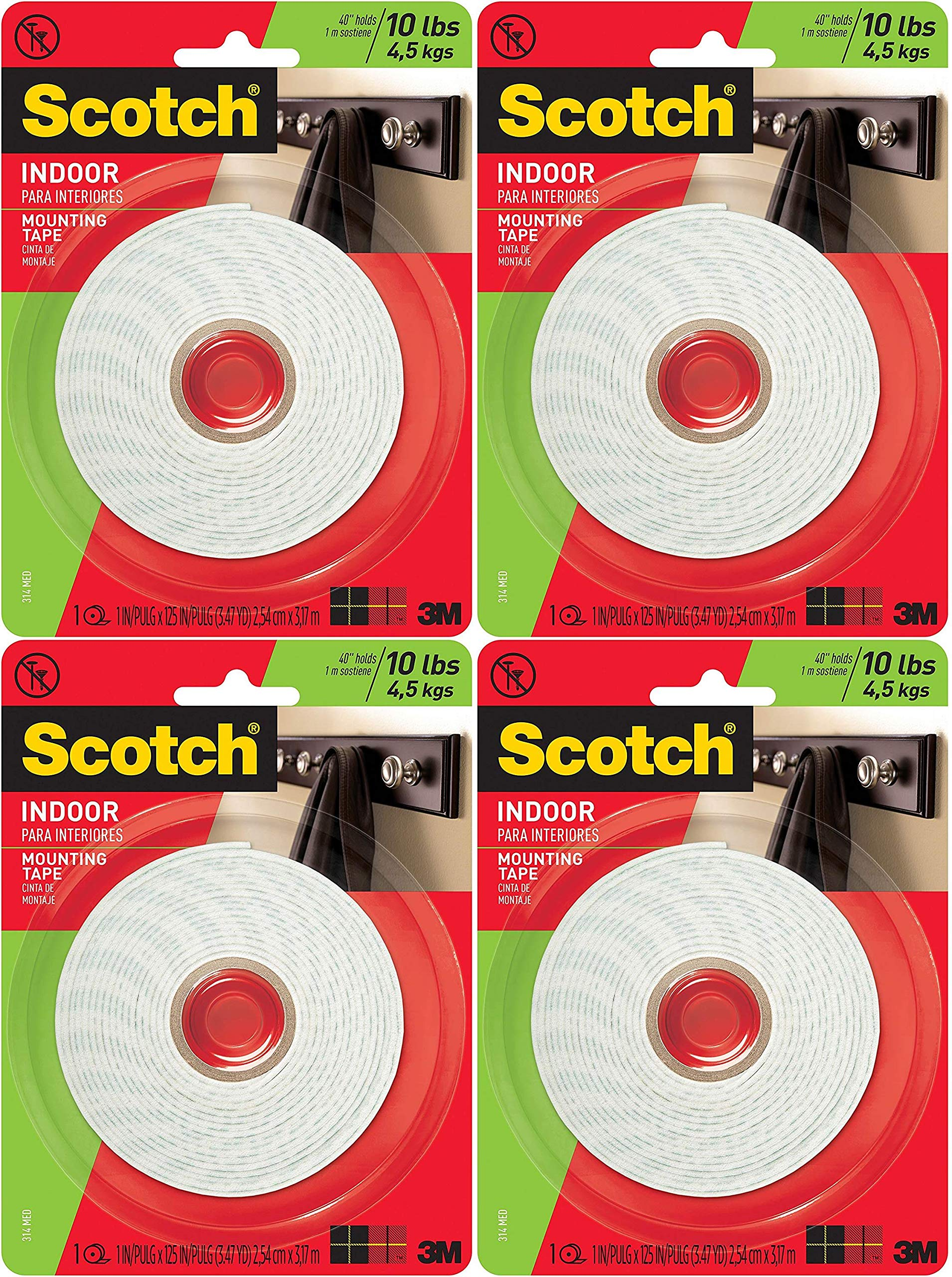 Scotch Brand 314 783961045463 Scotch Indoor Mounting Tape, 1-Inch x 125-Inches, 1-Roll (314P), White Pack of 4 by Scotch Brand