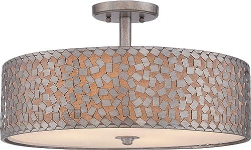 Quoizel CKCF1720OS Confetti Semi-Flush Ceiling Lighting, 4-Light, 400 Watts, Old Silver 12 H x 20 W