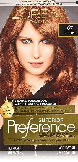 loreal paris superior preference premium haircolour 67 babylone light auburn - Coloration L Oreal Caramel
