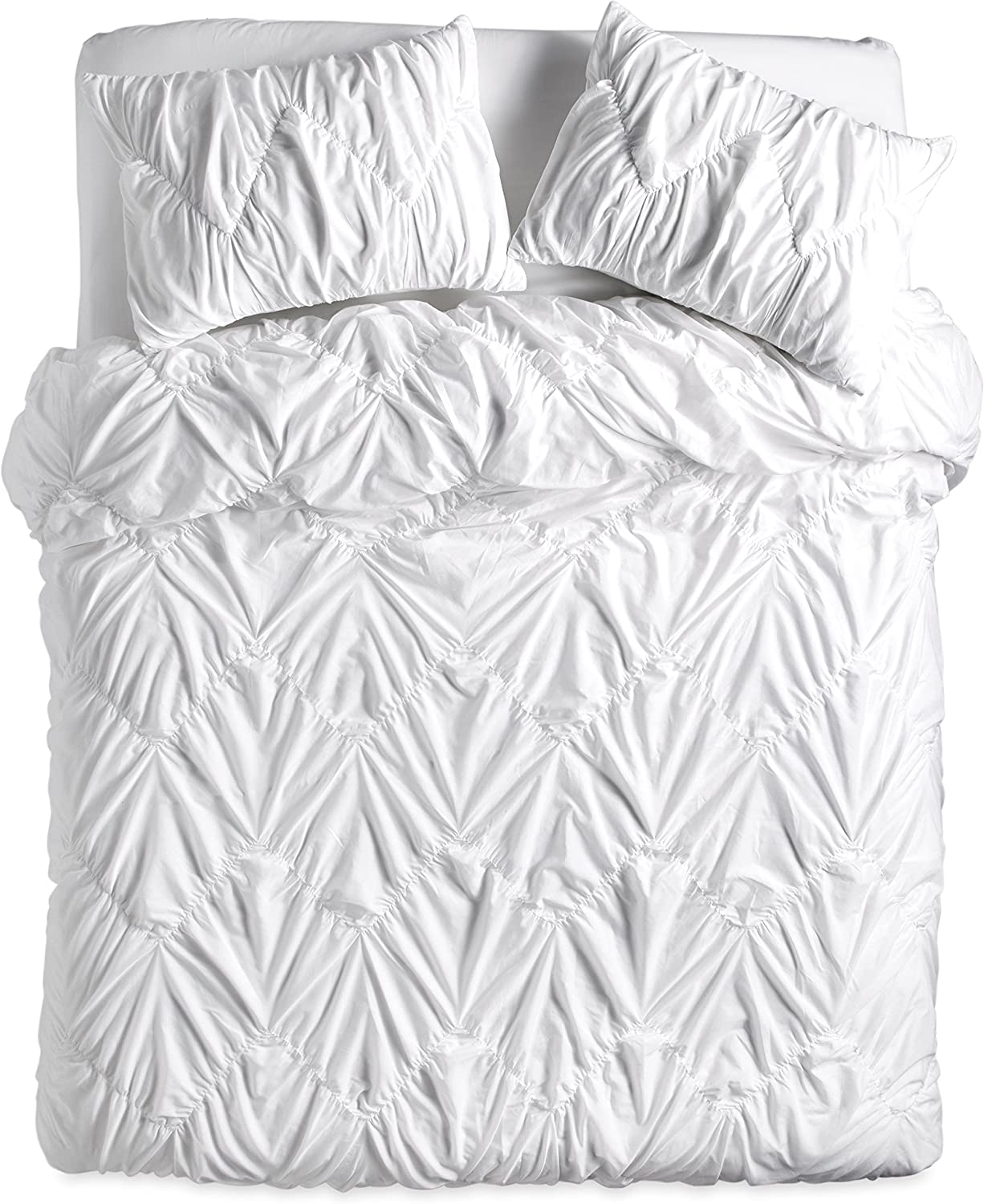 The Pioneer Woman Ruched Chevron Duvet Cover for Full Queen and King (King 106x 94, White)