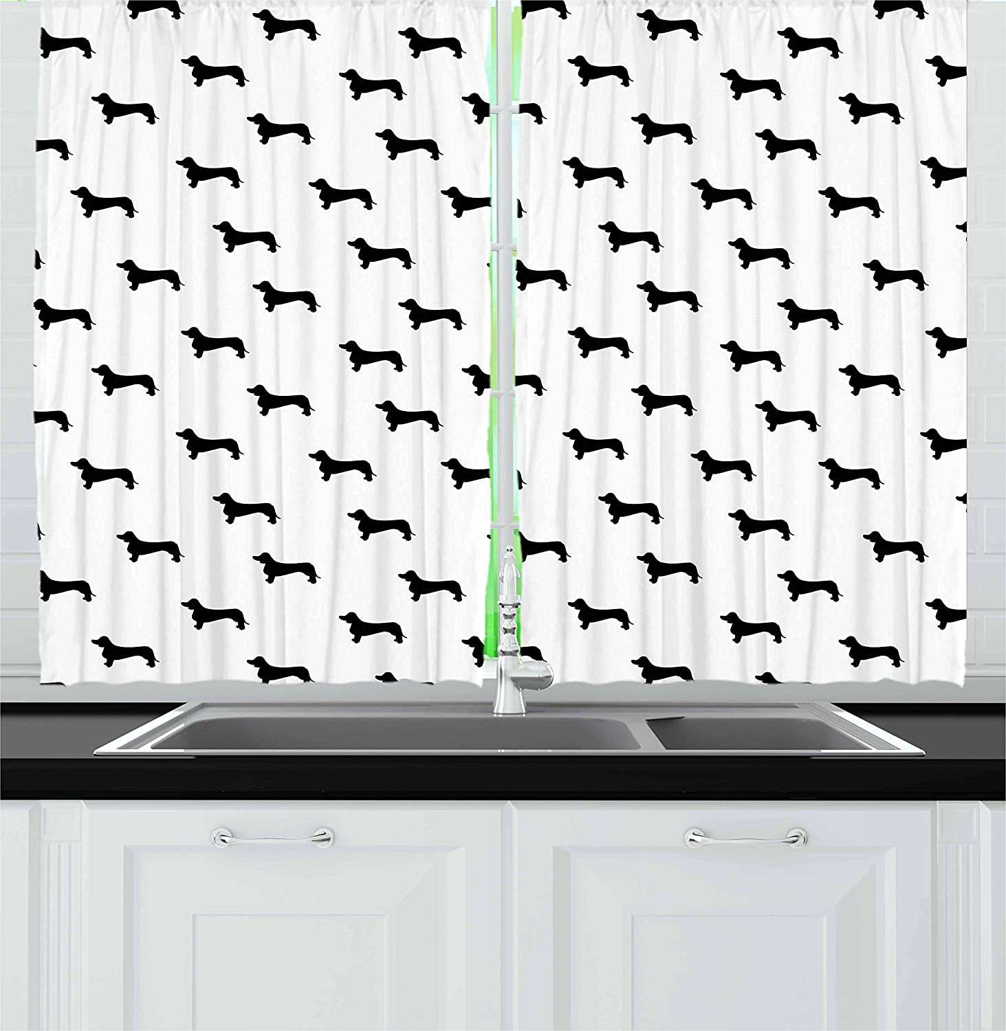 Amazon Com Ambesonne Dog Lover Kitchen Curtains Monochrome Dachshund Silhouettes Breed Dog Domestic Canine Pattern Active Pet Window Drapes 2 Panel Set For Kitchen Cafe Decor 55 X 39 Charcoal White Home