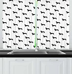 Ambesonne Dog Lover Kitchen Curtains, Monochrome Dachshund Silhouettes Breed Dog Domestic Canine Pattern Pet, Window Drapes 2 Panel Set for Kitchen Cafe, 55 W X 39 L Inches, Charcoal Grey White
