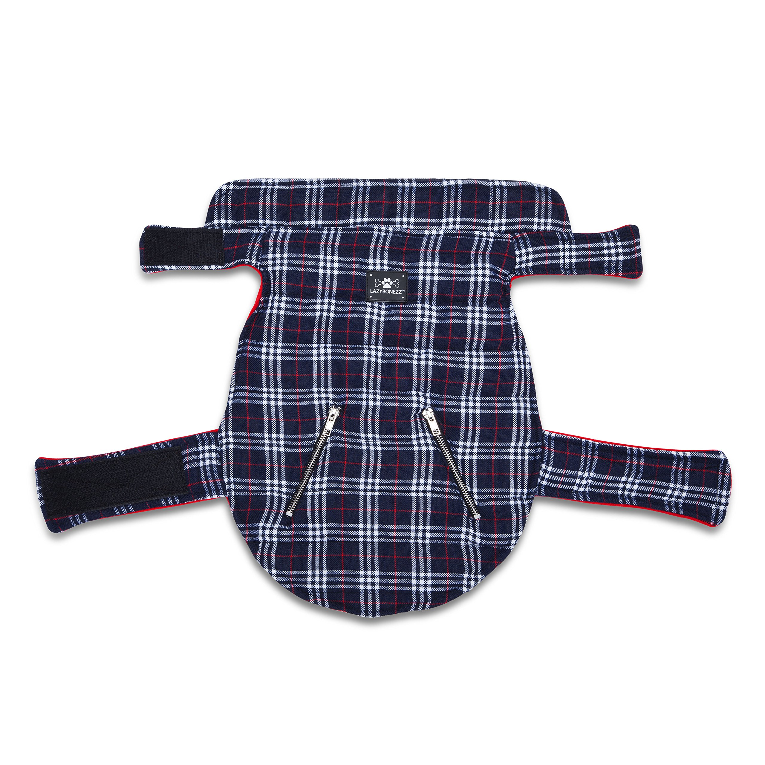 LazyBonezz Pet Coat with Fleece Lining Red and Blue Plaid XS