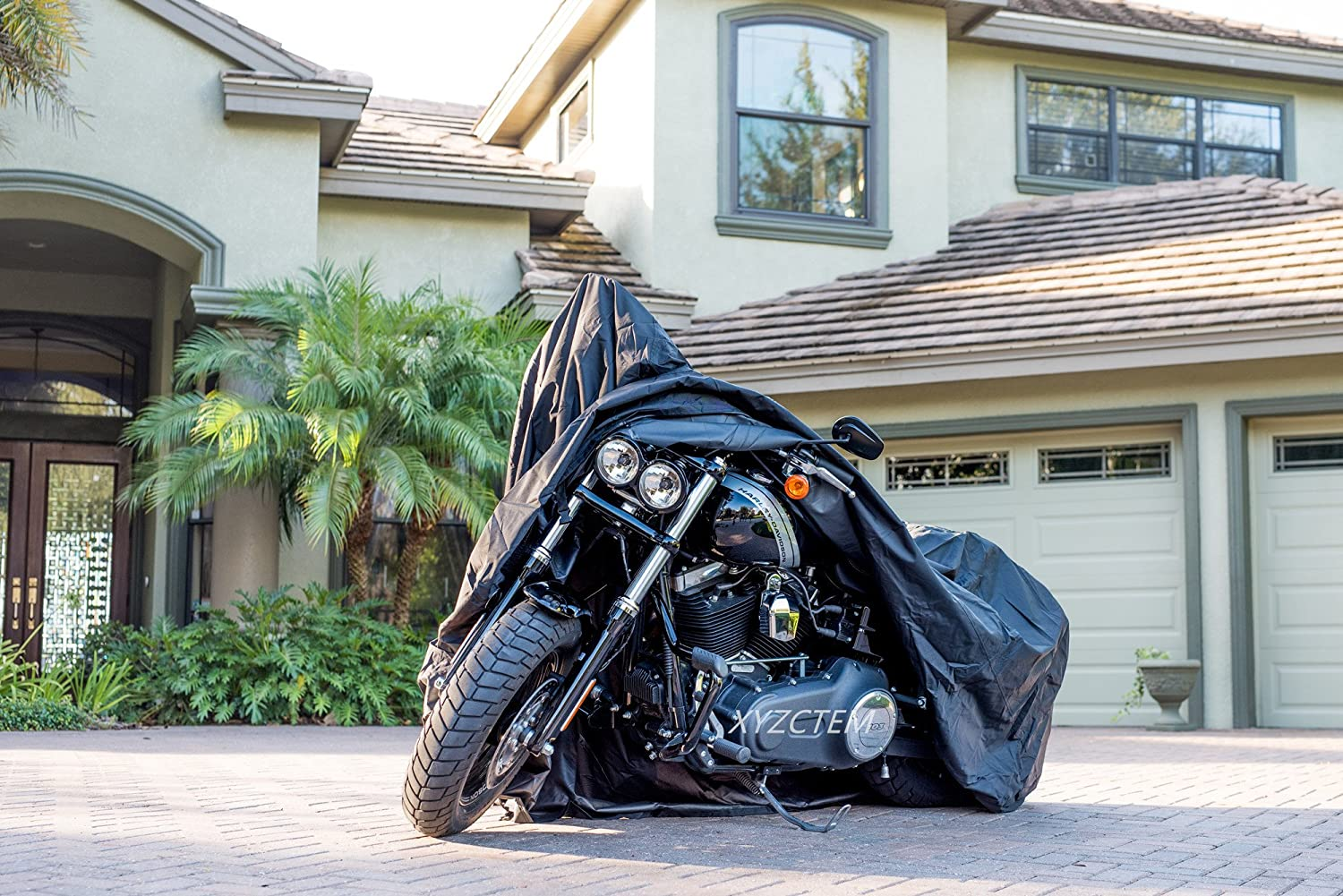 Honda Suzuki,Yamaha and More -1 Year Warranty XYZCTEM All Weather Black XXXL Large Waterproof Outdoor Protects Fits up to 118 inch for Harley Davidson New Generation Motorcycle cover