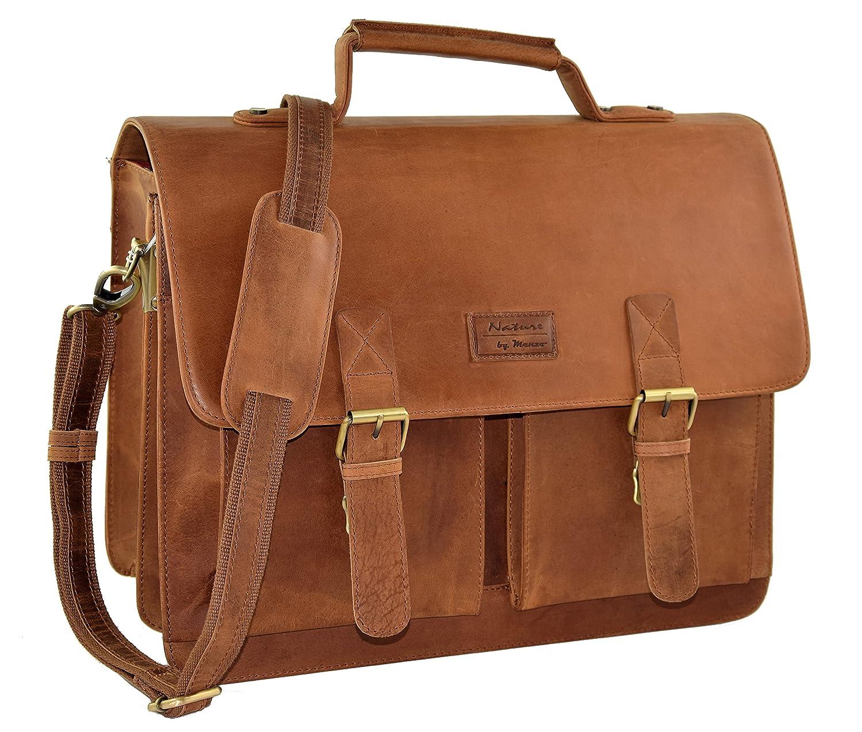 "MENZO Lederaccessoires ""Oxford"" Buffalo Vintage Leder, Lederaktentasche, Umhängetasche, Messengerbag, Businesstasche, Lehrertasche, Überschlagtasche, Notebooktasche (Marrone) Umhängetasche Überschlagtasche"