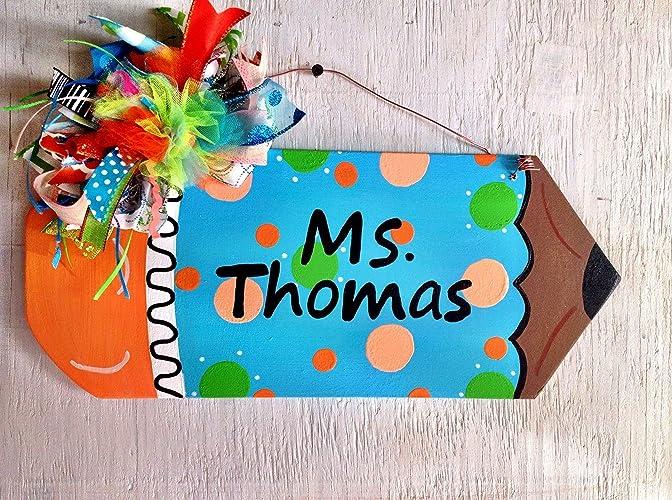 amazon com teacher sign teacher s pencil door sign handmade