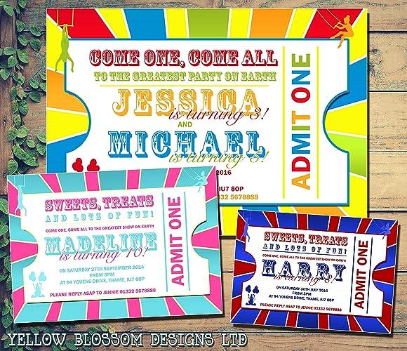 personalised childrens birthday invitations greatest showman printed