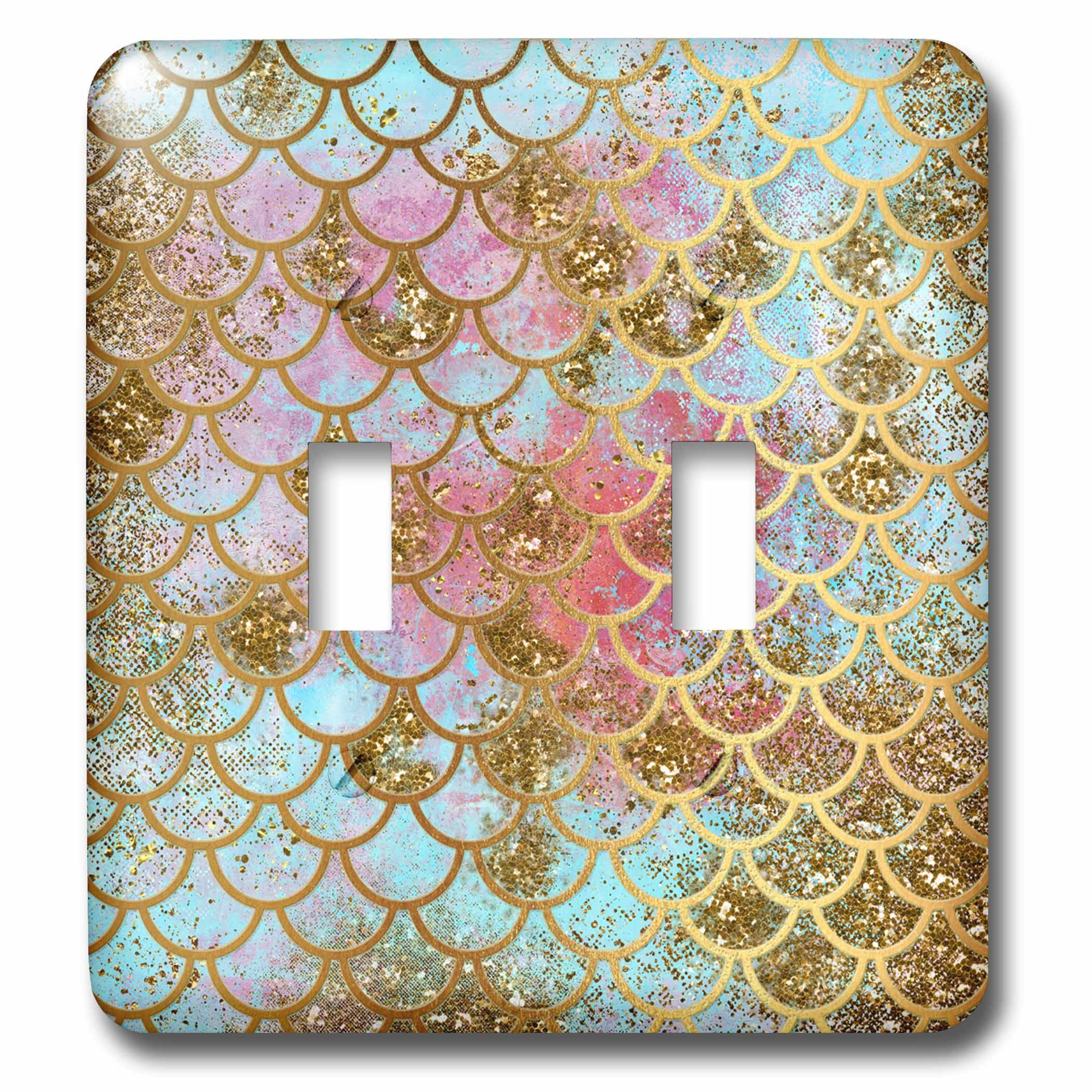 3dRose (lsp_266933_2) Double Toggle Switch (2) Sparkling Pink Luxury Elegant Mermaid Scales Glitter Effect Art Print