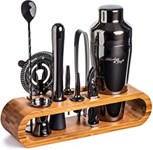 Mixology Bartender Kit: 10-Piece Black Bar Set Cocktail Shaker Set with Stylish Bamboo Stand | Perfect Home Bartending Kit with Gun Metal Bar Tools and Martini Shaker for Foolproof Drink Mixing