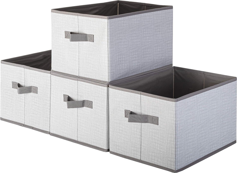 Pomatree Fabric Storage Bins - 4 Pack - Durable and Sturdy Storage Baskets | Large Foldable Storage Bin For Home, Nursery, Shelf and Closet Organization | Shelves Organizing Basket Cube (White & Grey)