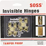"""SOSS Mortise Mount Invisible Hinges with 4 Holes, Zinc, Satin Brass Finish, 1-11/16"""" Leaf Height, 3/8"""" Leaf Width, 29/64"""" Leaf Thickness, #5 x 3/4"""" Screw Size (1 Pair)"""
