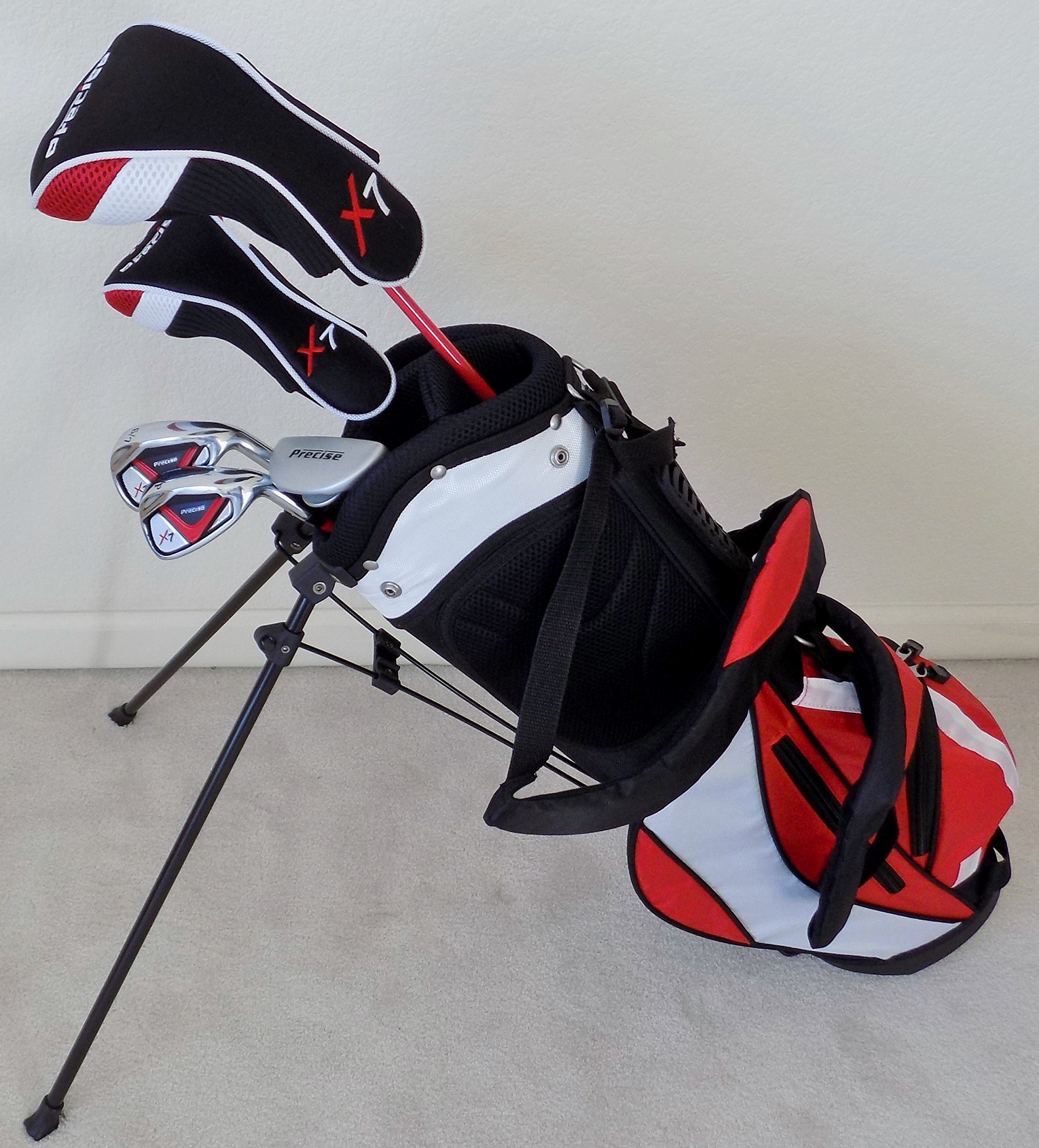 Boys Ages 5-8 Junior Golf Club Set Complete Driver, Hybrid, Irons, Putter, Stand Bag for Kids Red Color Professional Tour Jr.