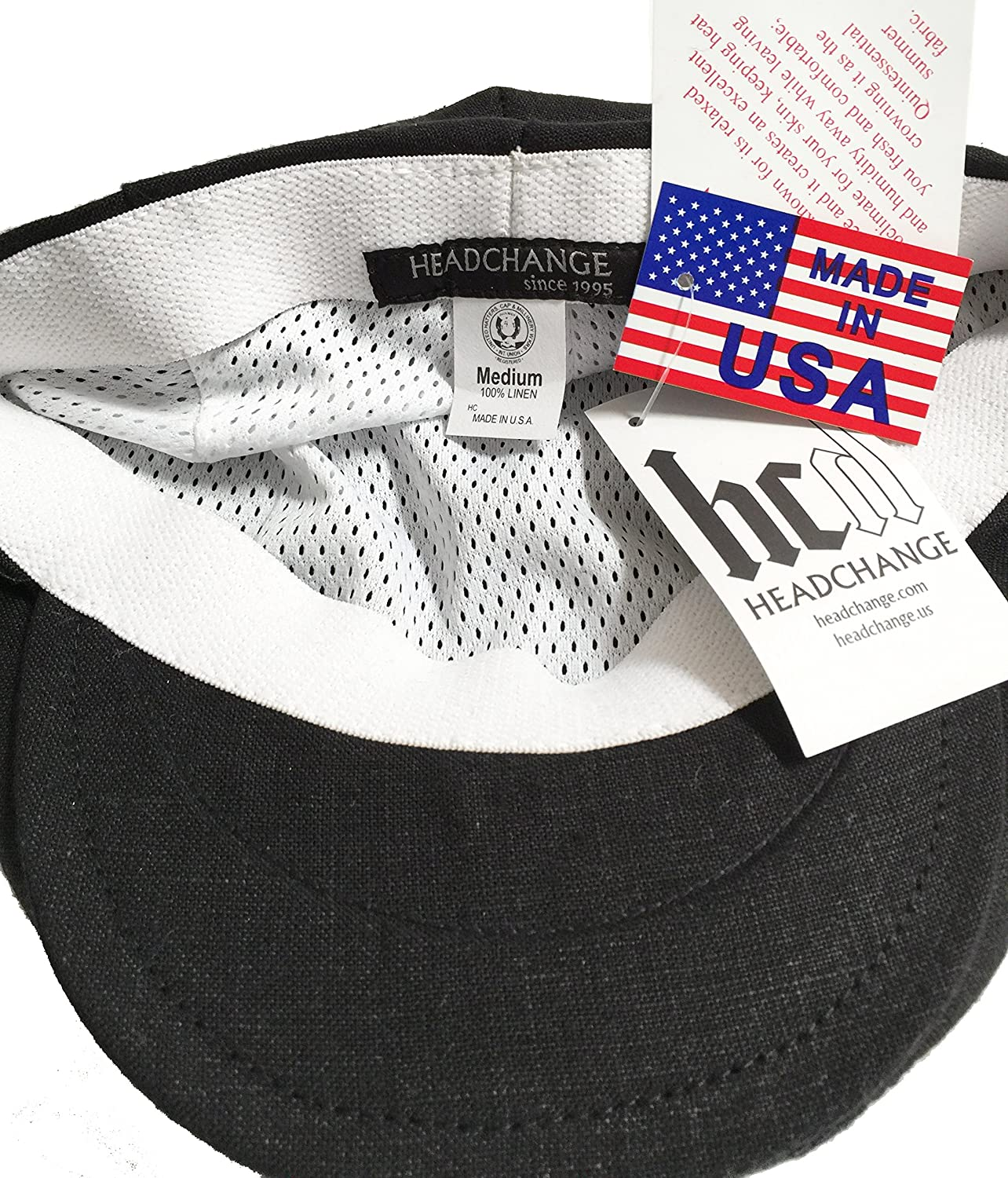 ccb3d13a1bb Amazon.com  Headchange Made in USA 100% Linen Ivy Scally Cap Classic 5  Point Driver Hat XS-XXL  Clothing