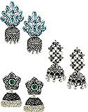 Zaveri Pearls Combo Jhumkis for Women (Silver) (ZPFK6280)