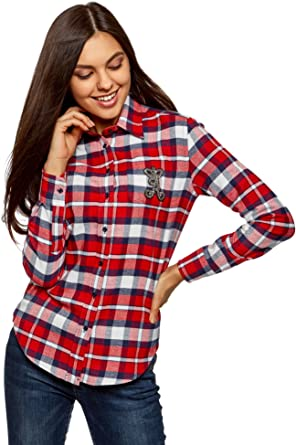 oodji Ultra Mujer Camisa de Franela con Decoración en el Bolsillo, Rojo, ES 34 / XXS: Amazon.es: Ropa y accesorios