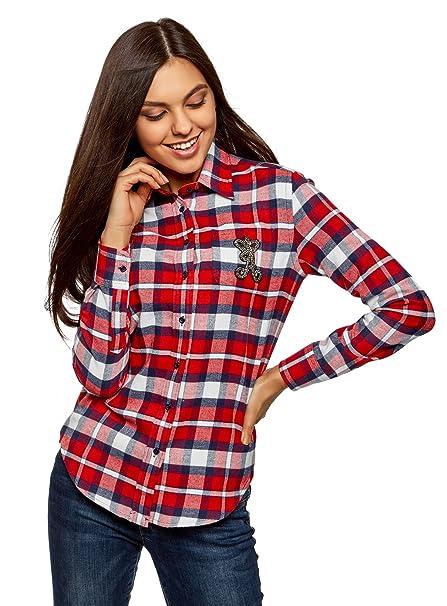 oodji Ultra Mujer Camisa de Franela con Decoración en el Bolsillo, Rojo, ES 34