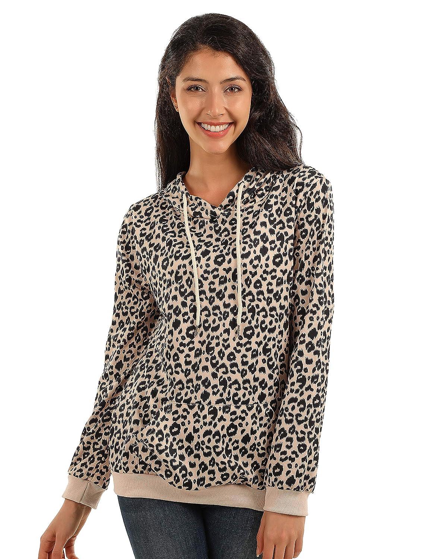 BMJL Womens Long/Sleeve/T-Shirt Leopard/Print Top Pullover/Hoodie Winter/Jumper with Kanga Pocket Top