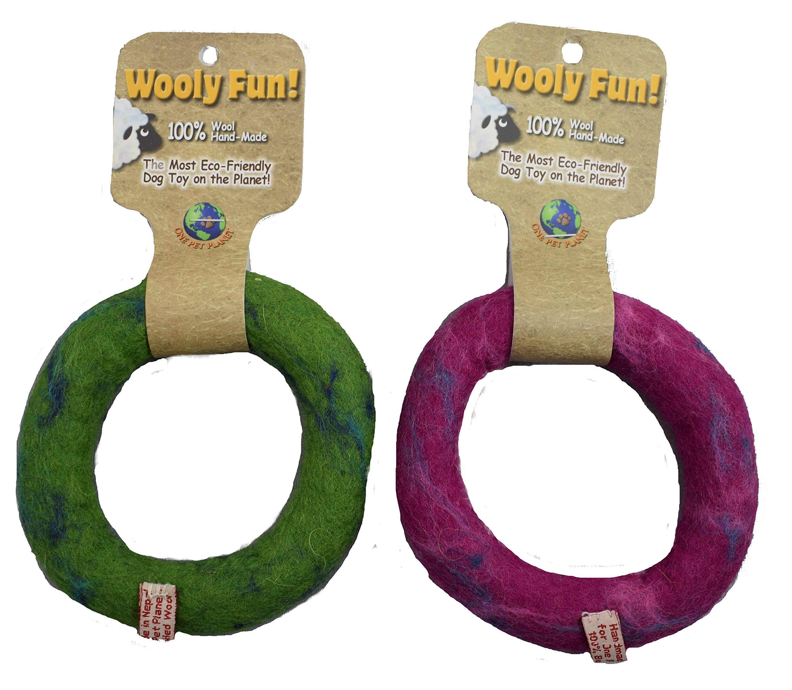 One Pet Planet 86174 Wool Ring (6 Pack), Green/Magneta, 5'' by One Pet Planet (Image #1)
