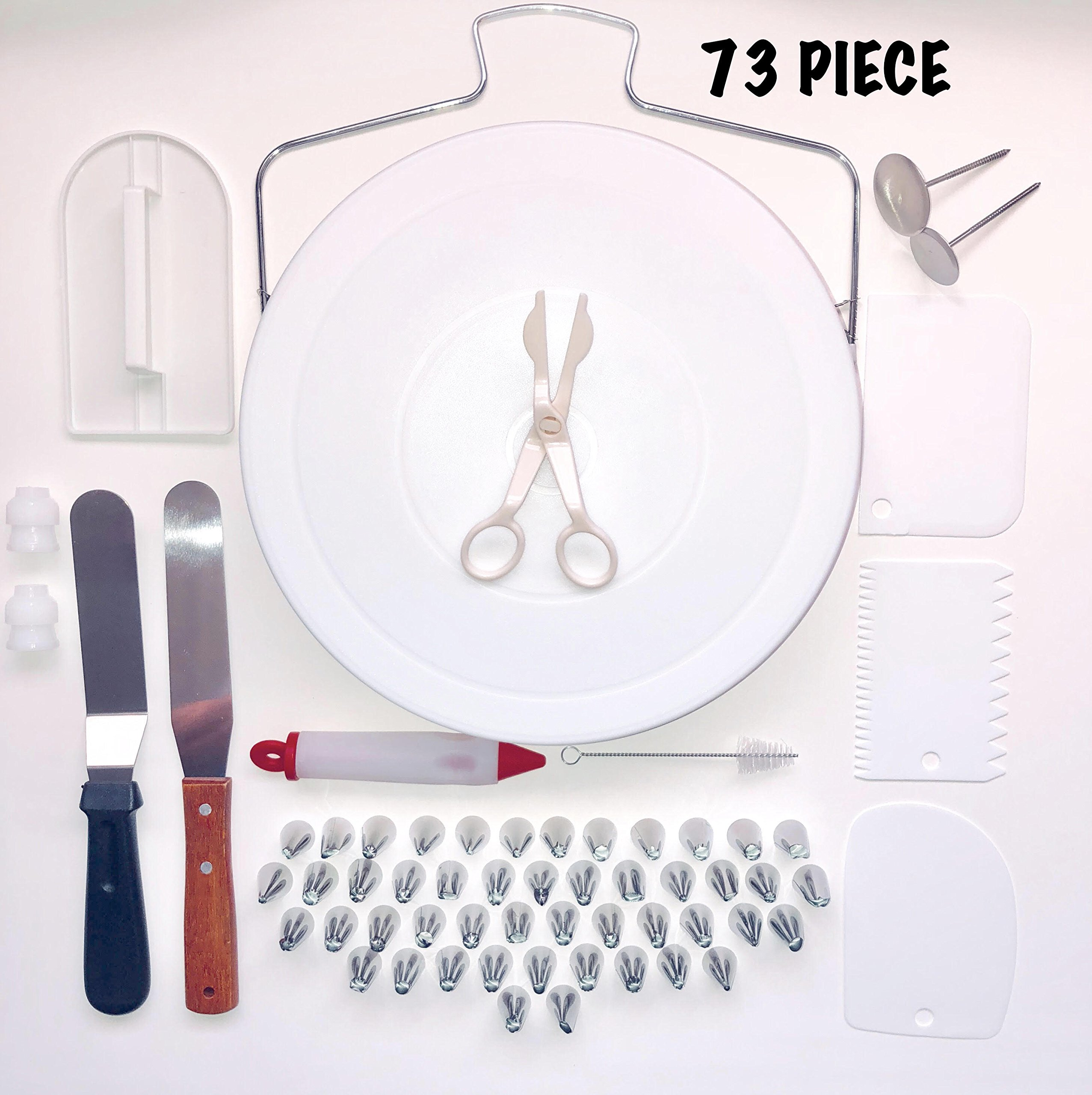 Professional Cake Decorating Supplies Kit- Rotating Turntable, Stainless Steel Fondant Tips, Molds, Piping Nozzle Bags, Icing Spatula |All in One Beginners Set| DIY Cake Decoration Supply Set 73 Piece