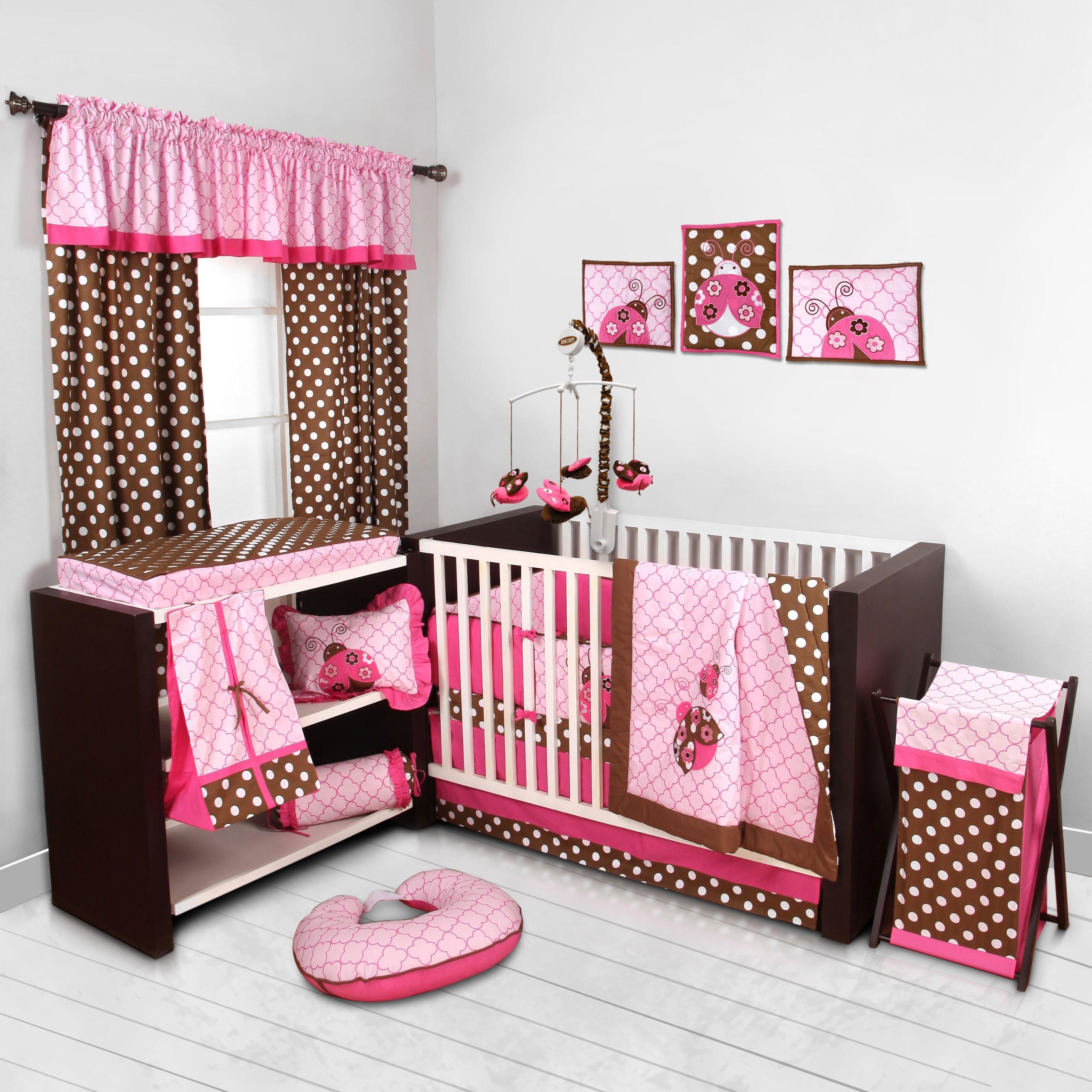 Lady Bugs pink/chocolate 10 pc Crib Set