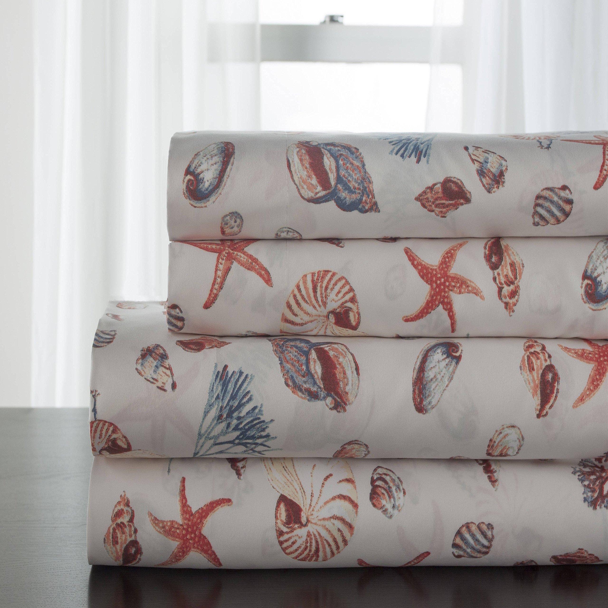 3 Piece Brown Oceanside Shells Themed Sheet Twin Set, Beautiful Deep Sea Animals Pattern Bedding, Features Startfish, Coral Floral Print, Sealife Theme Design, Vivid Colors, Microfiber, Unisex
