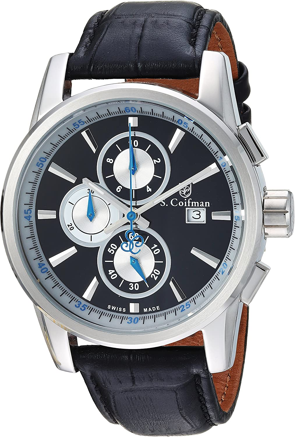 S. Coifman Men s Heritage Stainless Steel Quartz Watch with Leather Calfskin Strap, Black, 22 Model SC0251