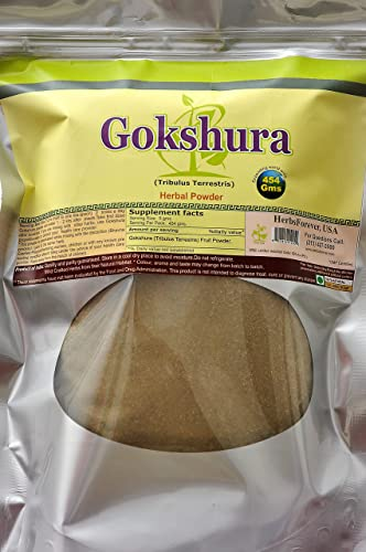 Gokshura Powder Tribulus Terrestris Ayurvedic Herbs from Natural Habitat 16 Oz, 454 GMS, 2X Optimum Potency