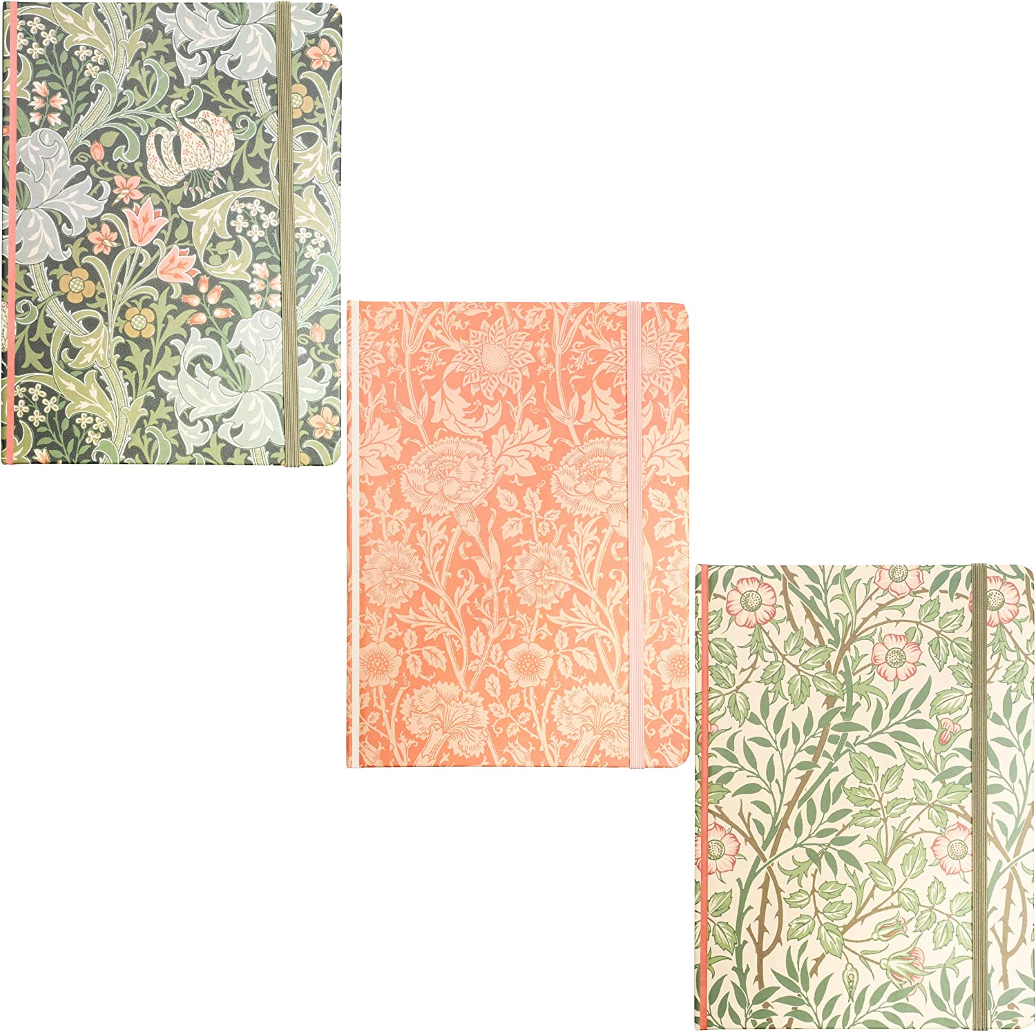 William Morris Hard Cover Diary Notebooks 7 x 5 in, 3 Pack 160 Lined Pages