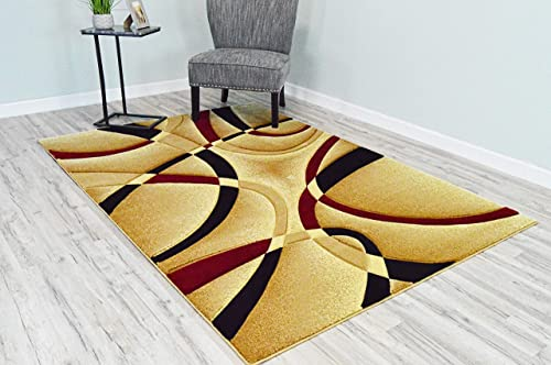 PlanetRugs Premium 3D Effect Hand Carved Thick Modern Contemporary Abstract Area Rug Design 2305 Burgundy Beige 5 3 x7 6