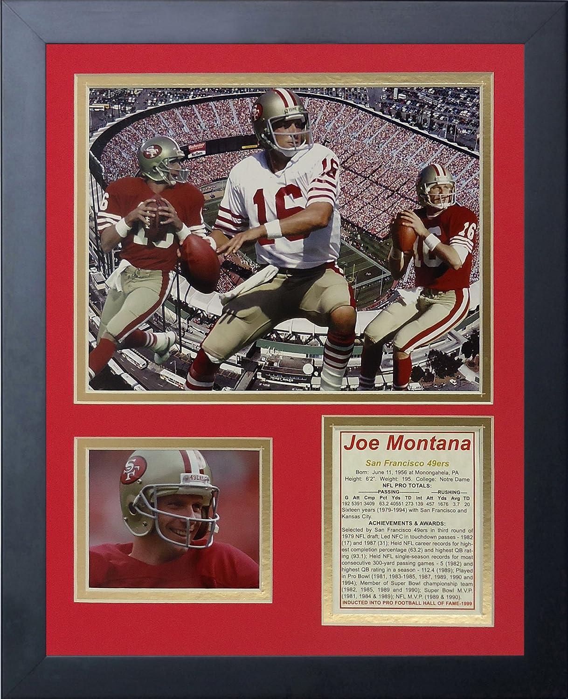 Legenden Sterben Nie Joe Montana gerahmtes Foto Collage, 11x 35,6cm