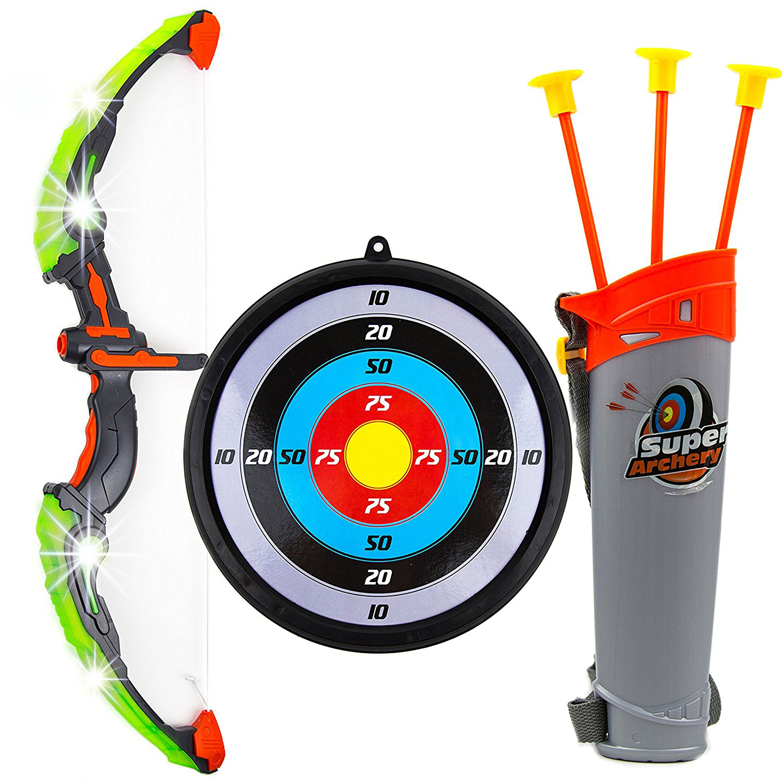 Toysery Kids Toy Bow & Arrow Archery Set Arrow Holder Target - LED Light Up Function - Hunting Series Toy Boys Girls,