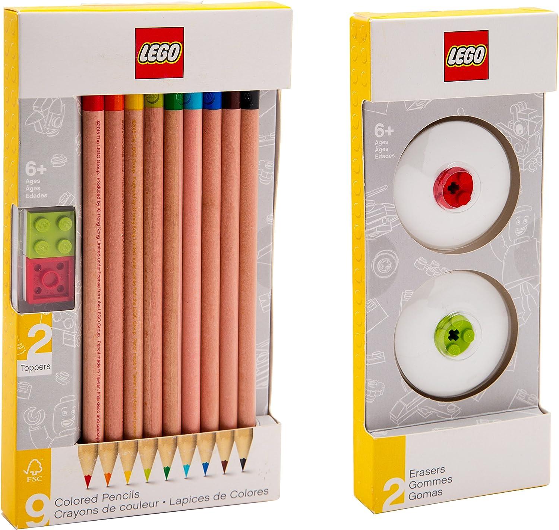 LEGO papelería – Lápices de colores (9 unidades) y 2 gomas de borrar (rojo y verde) con bloques de construcción: Amazon.es: Oficina y papelería