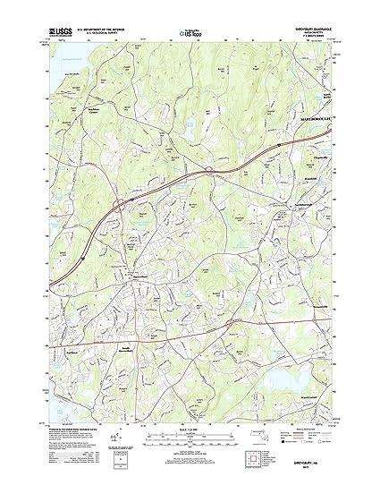 Amazon.com: Topographic Map Poster - SHREWSBURY, MA TNM GEOPDF 7.5X7 ...