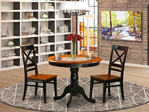 ANQU3-BLK-W Dining set – 3 Pcs with 2 Wood Chairs