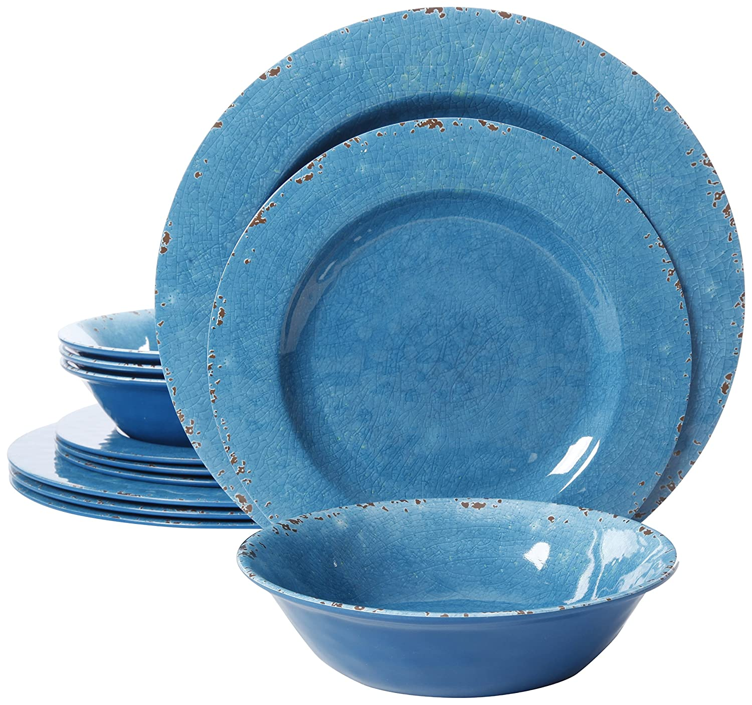 Gibson Studio 94893.12 Mauna 12 Piece Heavy Weight Melamine Dinnerware, Blue
