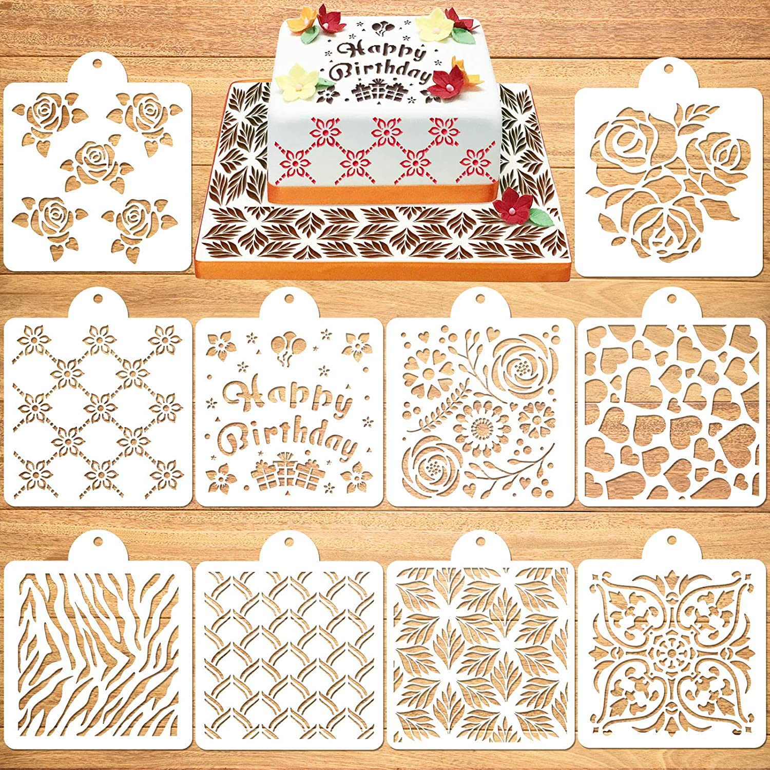 Konsait 10Pack Cake Stencil Templates Decoration,Reusable Cookies Baking Painting Mold Tools Cake Decorating Stencils for Food,Wall,Costume,Dessert,Coffee Decor Molds DIY Craft Wedding Birthday Party