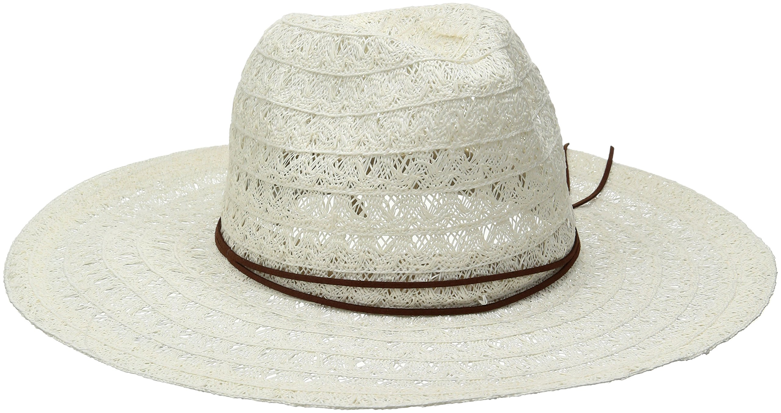 ale by Alessandra Women's Prescott Lace Weave Toyo Fedora With Leather Trim, White, One Size