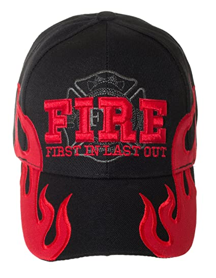 2a21c4793 First in Last Out Fire Rescue Flames Baseball Cap with Adjustable Strap