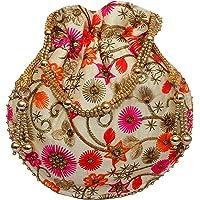 Milan's Creation : Ethnic Designer Embroidered Silk Potli Bag Batwa Pearls Handle Purse Wedding Women's Handbag With Drawstring Closure & Tassels 002