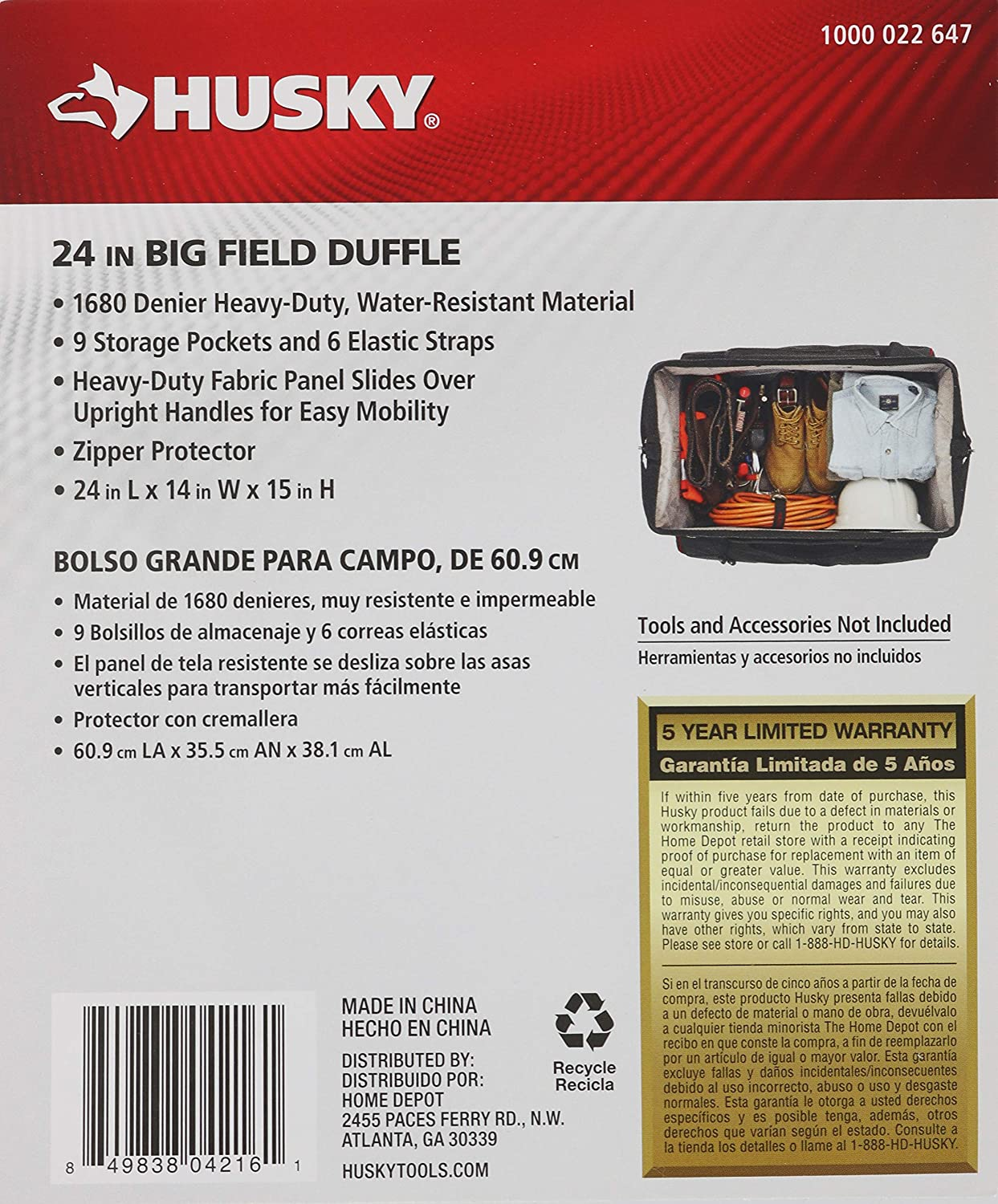 980923136e Amazon.com  Husky GP-45216AN13 24 in. Big Field Duffle Tool Bag Tote Pouch  Storage  Clothing