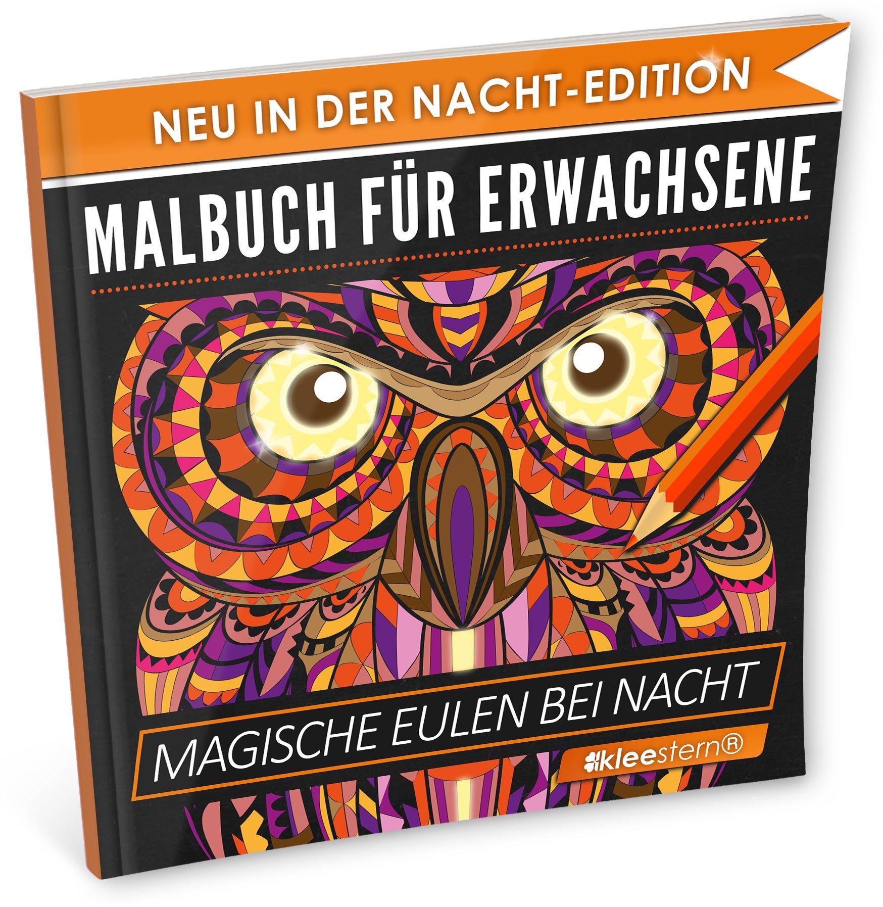 Malbuch für Erwachsene: Magische Eulen NACHT EDITION - Stressabbau ...