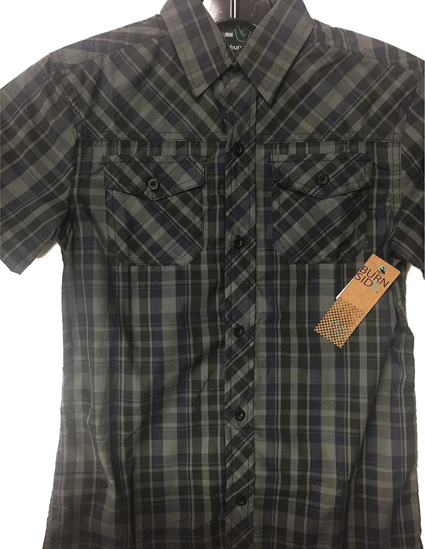 Charcoal 10-12 Burnside Short Sleeve Plaid Button Down Shirt Medium
