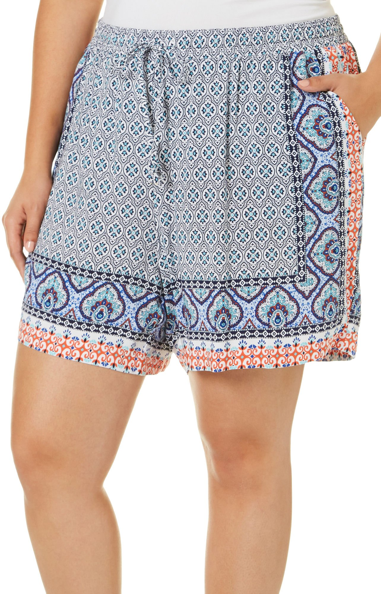 Dept 222 Plus Blue Daze Tile Print Shorts 1X Blue/Orange/White