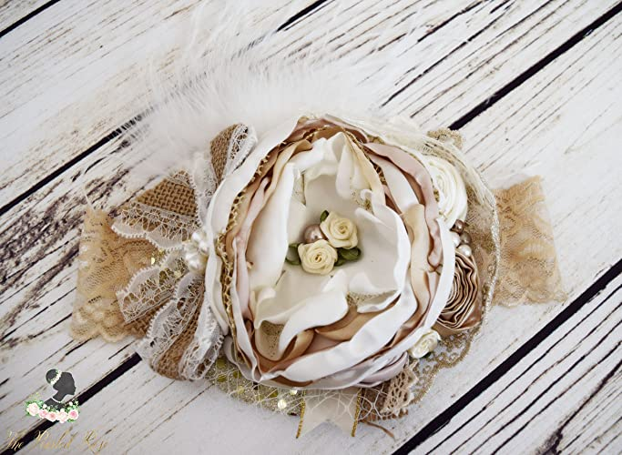 Amazon.com  Handcrafted Neutral Ivory and Gold Over the Top Bow Headband -  Fancy Christmas Headband - Country Wedding Headpiece - Flower Girl Headbands   ... f298efb24aa